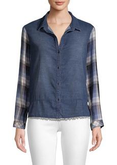 Bella Dahl Denim & Plaid Patchwork Shirt