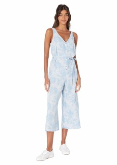 Bella Dahl Discharge Palm Print Button Front Crop Leg Jumpsuit