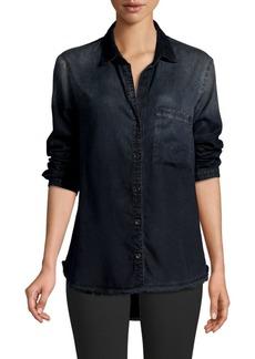Bella Dahl Frayed Denim Shirt
