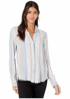 Bella Dahl Hombre Horizon Stripe Fray Hem Button-Down Blouse
