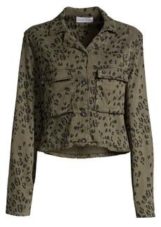 Bella Dahl Leopard-Print Cropped Military Jacket