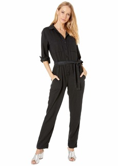 Bella Dahl Long Sleeve Utility Jumpsuit in Crosshatch Tencera