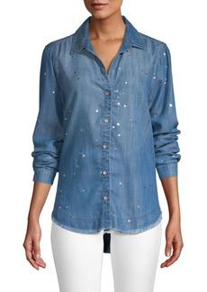 Bella Dahl Metallic Splatter Fray Hem Denim Button-Down Shirt