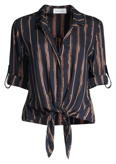 Bella Dahl Metallic Stripe Roll-Tab Tie-Front Shirt