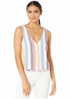 Bella Dahl Mykonos Stripe Sleeveless Button Front V-Neck Top