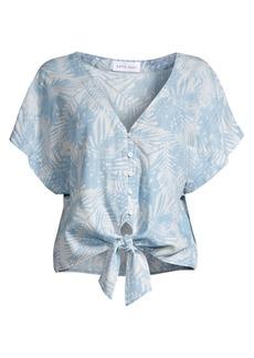 Bella Dahl Palm Print Tie-Front Blouse