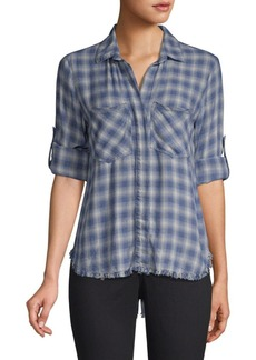 Bella Dahl Plaid Raw-Hem Button-Down Shirt
