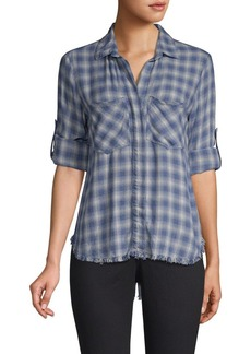 Bella Dahl Plaid Raw-Hem Button-Down Shirt