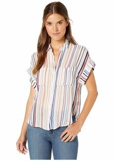 Bella Dahl Stripe Cap Sleeve Two-Pocket Button Down Shirt