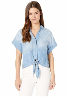 Bella Dahl Stripe Trim Cap Sleeve Tie Up Shirt