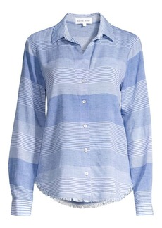 Bella Dahl Striped Frayed Hem Shirt