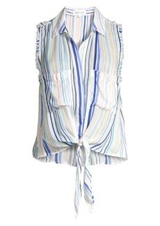 Bella Dahl Striped Sleeveless Frayed Tie-Up Blouse