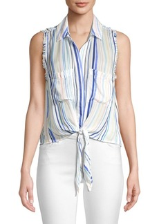 Bella Dahl Striped Sleeveless Frayed Tie-Up Blouse