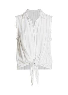 Bella Dahl Tie-Front Fringed Sleeveless Blouse