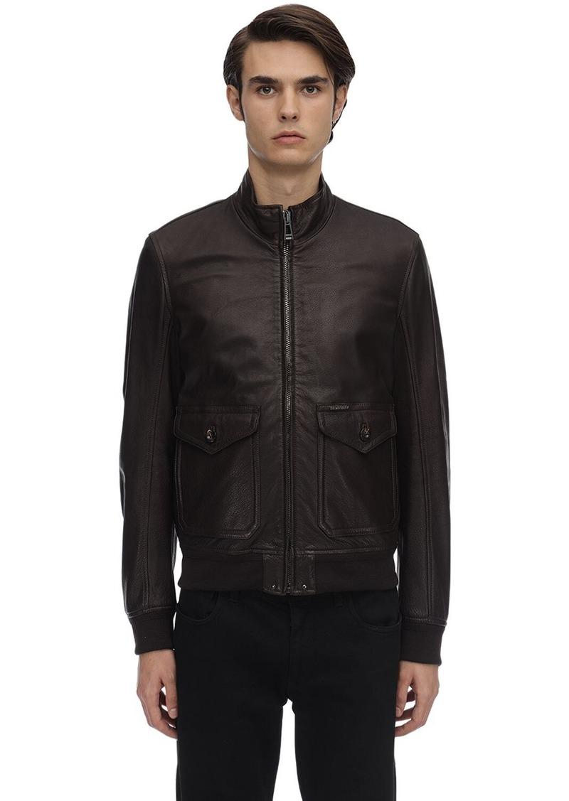 Belstaff Hughes Leather Bomber Jacket