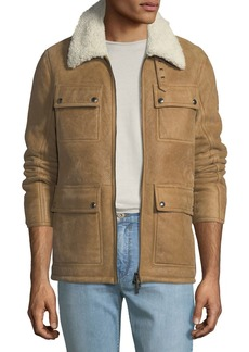 Belstaff Men's Upland Shearling-Collar Lightweight Suede Jacket