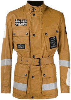 Belstaff patch detail leather jacket