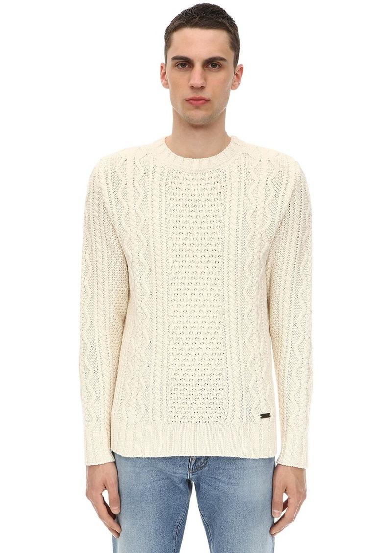 Belstaff Wool Blend Aran Knit Sweater