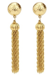 Ben-Amun Chain Tassel Round Clip Earrings
