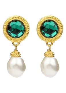Ben-Amun Crystal & Imitation Pearl Clip Earrings