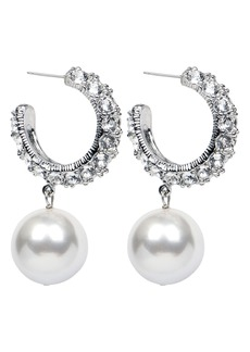 Ben-Amun Crystal & Imitation Pearl Hoop Earrings
