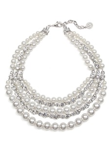 Ben-Amun Crystal & Imitation Pearl Multistrand Torsade Necklace