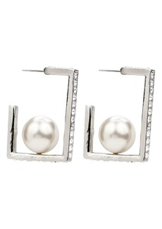 Ben-Amun Crystal & Imitation Pearl Square Hoop Earrings