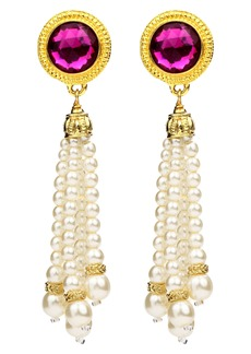 Ben-Amun Crystal & Imitation Pearl Tassel Clip Earrings