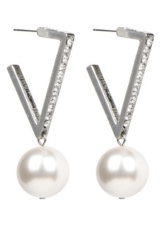 Ben-Amun Crystal & Imitation Pearl V-Shape Hoop Earrings