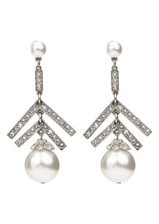 Ben-Amun Deco Crystal & Imitation Pearl Chandelier Earrings