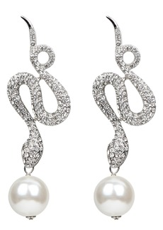 Ben-Amun Deco Crystal Snake & Imitation Pearl Drop Earrings