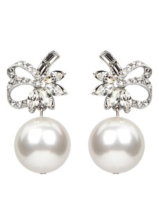 Ben-Amun Deco Ribbon Crystal & Imitation Pearl Drop Earrings