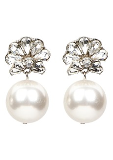 Ben-Amun Fan Crystal Imitation Pearl Drop Earrings