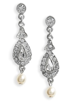 Ben-Amun Glass Pearl & Swarovski Crystal Drop Earrings