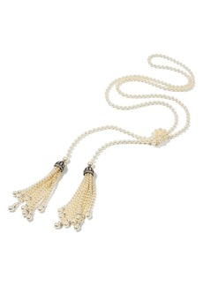 Ben-Amun Glass Pearl Tassel Necklace