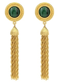 Ben-Amun Malachite Tassel Clip Earrings