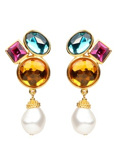 Ben-Amun Multicolor Crystal & Imitation Pearl Clip Earrings