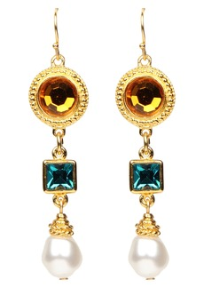 Ben-Amun Multicolor Crystal & Imitation Pearl Drop Clip Earrings
