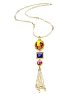 Ben-Amun Multicolor Crystal & Imitation Pearl Long Pendant Necklace