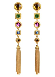 Ben-Amun Multicolor Crystal Long Drop Clip Earrings