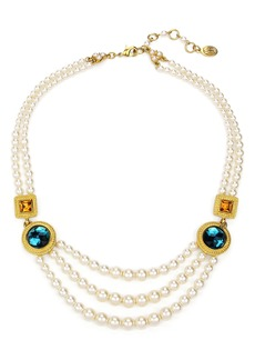 Ben-Amun Multicolor Crystal Station & Imitation Pearl Necklace