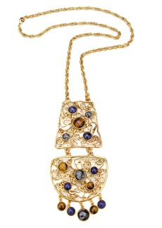Ben-Amun Multicolor Golden Lace Long Pendant Necklace