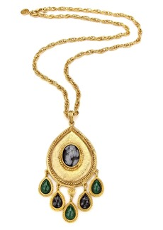 Ben-Amun Multicolor Stone Long Teardrop Pendant Necklace