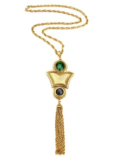 Ben-Amun Multicolor Stone Tassel Long Pendant Necklace
