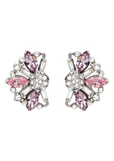 Ben-Amun Silver & Pink Crystal Earrings