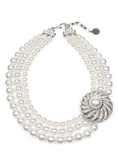 Ben-Amun Triple Imitation Pearl Strand Collar Necklace