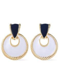 Ben-amun Woman 24-karat Gold-plated Enamel Clip Earrings White