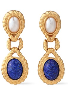 Ben-amun Woman 24-karat Gold-plated Faux Pearl And Stone Clip Earrings Gold
