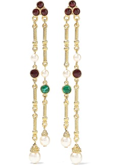 Ben-amun Woman 24-karat Gold-plated Stone And Faux Pearl Earrings Gold