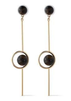 Ben-amun Woman 24-karat Gold-plated Stone Earrings Dark Brown